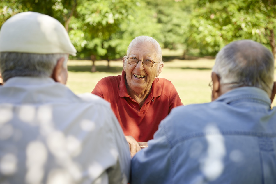 Group of senior men having fun and laughing in park